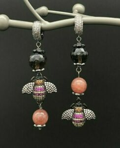 Earrings with Cubic Zirconia Bee and Smoky & Strawberry Quarts