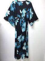 Cato Kimono Maxi Dress Black Green Floral Sz L Stretch Hi Waist Tie Belt