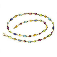"Gold Necklace Natural Multi-shape Bezel GEMSTONES Handmade Stationary 14k 16"""