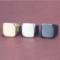 Men Stainless Steel Rings All-gloss Square Solid Titanium Classic Ring Jewelry