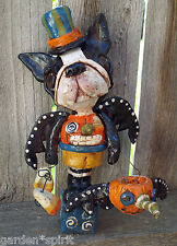 Folk Art Vintage Boston Terrier Bat Dog Doll Vintage Whimsical Halloween