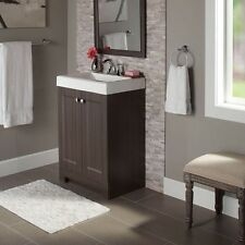 "24"" Slim Modern Bathroom Vanity with White Marble Top Single Center Set Sink"