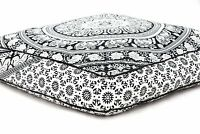 Large Extra Large Square Mandala Floor Cushion Pillow Cover Indian Ottoman Pouf