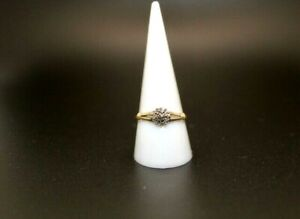 9ct Yellow 0.10ct Diamond Cluster Ring Size R 1/2