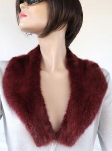 Mink Scarf Fur Collar Fur Classic Basic Design Coat Jacket Wine Red Dark Red