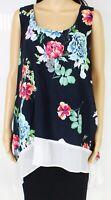 Karen Kane Womens Top Blue Multi Size 2X Plus Floral Print Scoop-Neck $129 247