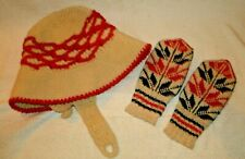 558eaeb511c Norwegian Hat and Mittens Vintage nordic scandinavian knit cloche cream red