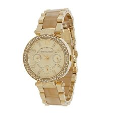 Michael Kors Women's Parker Crystal Pave Horn Acetate Gold Bracelet Watch MK5842