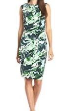 DKNYC Rainforest Green Marble Print  S/L Ruched Jersey Cowl Dress Sz M $129