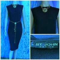ST. JOHN Basics Santana Knit Navy Blue Dress L 12 10 Sleeveless Sheath Mock Neck