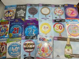 JOB LOT 100 X FOIL BALLOONS - NEW IN PACK - AGE BIRTHDAY ASSORTED END OF LINE