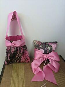 Pink Camo Ring Bearer Pillow And Petal Bag