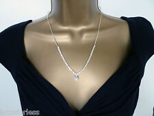 Teardrop Diamante Necklace and Stud Earrings Jewellery Set with Crystals 17""
