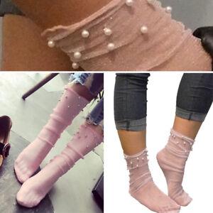 1-4 Pair Light Pink Sheer Glitter Beaded Top Mesh Ultra Thin Ankle Hi Soft Socks