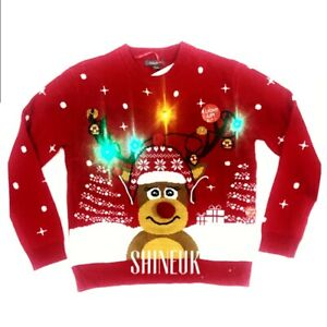 NEW PRIMARK ladies Rudolph Reindeer Christmas Light Up knitted sweater jumper