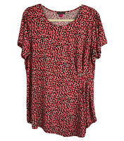 Vince Camuto Women's 'Shadow Forms' Print Side Pleat Asymmetrical Top Size 1X