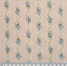 1/2 metre BLUE ROSES Wallpaper Stripes Floral Quilt Patchwork Fabric