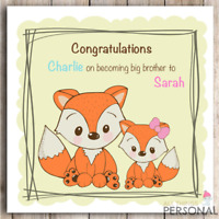 Personalised Card Congratulations To Big Sister Big Brother New Sibling New Baby