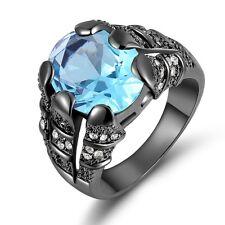Mens Size 8 Aquamarine Sapphire Black 18K Gold Filled Fashion Anniversary Rings