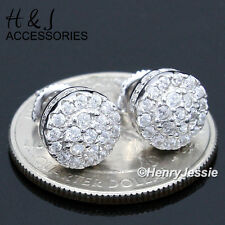 MEN 925 STERLING SILVER 9MM LAB DIAMOND ICED ROUND SCREW BACK STUD EARRING*AE141