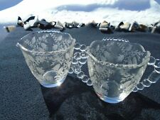 Clear Glass Sugar & Creamer with Etched Flowers