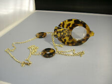 VINTAGE FAUX TORTOISE FISH SHAPED PENDANT THAT OPENS TO MAGNIFYING GLASSES