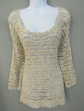 Lucky brand Top L Loose Knit Scoop Neck Crochet Style