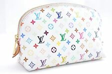 Auth Louis Vuitton Monogram Multicolor Pochette Cosmetic Pouch White LV 33682