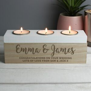 Personalised Mr & Mrs Wedding Wooden Triple Tea Light Candle Holder Married Gift
