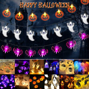 150/ 300cm LED Pumpkin Fairy Lights In/Outdoor Halloween Ghost Party Props Decor