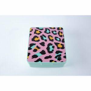 "Your Zone Plastic 8"" x 7"" Green Rectangular Bento Box - Leopard - New"