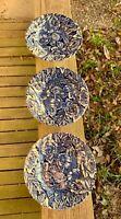 💥 Set of 3 Churchill Staffordshire England Blue Peony? Roses? Flowers plates 💥