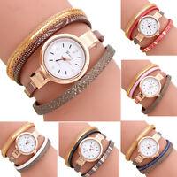 Women Fashion Gold Retro Analog Quartz Watch Leather Band Bracelet Wrist Watches