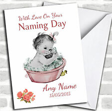 Cute Vintage Baby Girl Naming Day Customised Card