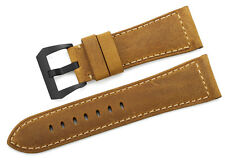 26mm Genuine Assolutamente Leather Watch Strap Black PVD Buckle Band For Panerai
