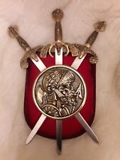 Vintage Art Deco Medieval Knight Armour Sword Shield Hanging Plaque