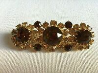 Vintage Cocktail Flower Brooch Topaz Citrine Glass Sparkling Statement 1950s