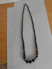 Vintage Black Faceted Beaded Necklace Rhinestones Made in Austria