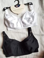 2Pack Blooming Marvellous Mothercare Nursing Bra Black White 32E £30 100% Cotton