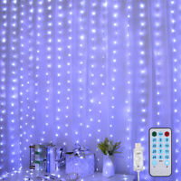 300 LED Curtain Fairy String Hanging Wall Lights USB Window Wedding Party Decor