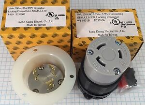 High Quality NEMA L6-30 Locking Connector and Flanged Inlet, UL listed