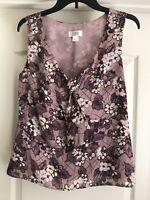 Ann Taylor Loft Womens Purple Sleeveless Blouse Tank Top Floral Pattern Size 10
