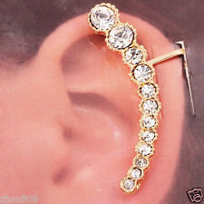 crystal long Ear Studs earrings hot gorgeous women Statement Yellow gold filled