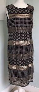 GINA BACCONI Black Gold Geometric Embroidery Shift Dress UK 16 NWT Party Evening