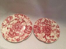 2 Vintage Johnson Brothers Chippendale Red Pattern 103232 Saucer & Dessert Plate