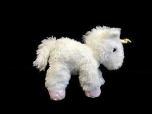 "Aurora Unicorn White With Gold Hooves & Horn 9"" Stuffed Plush Animal Soft Fluffy"