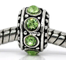 August Birthstone Green Rhinestone Spacer Ring Charm for European Bead Bracelet