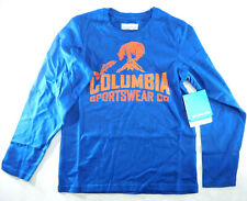 Columbia Csc Bear N' Fish Long Sleeve Round Neck Top Blue Youth Size Small - New