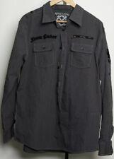 Extreme Couture Long Sleeve Button Front Shirt Size XXL Black & Gray Cotton EUC