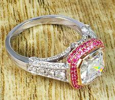 18K WHITE ROSE GOLD ASSCHER CUT AND PINK SAPPHIRE BEZEL ENGAGEMENT RING 2.20CTW